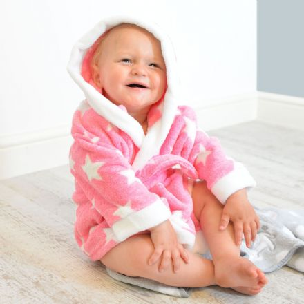 Personalised Star Soft Pink And White Dressing Gown